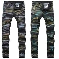 Men Distressed Faded Jeans Vintage Skinny Stretchy Denim Pants Straight Trousers