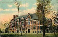 Antigo Wisconsin~High School~Fire Escapes~Trees~1912 Postcard