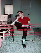 ELVIS PRESLEY 1956  8x10 Photo Listening to Records on his RCA VICTROLA PORTABLE