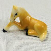 "Vintage Miniature Horse Figurine Bug House Bone China 1.5"" Resting Foal T01H"