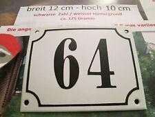 Hausnummer Emaille Nr. 64 schwarze Zahl auf weißem Hintergrund 12 cm x 10 cm
