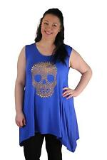 Ladies New Plus Size Studded Skull Sleeveless Dip Hem Tunic Top Sizes 14-28