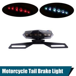 Motorcycle License Plate Mount Holder Bracket 6 LED Brake Tail Light Waterproof