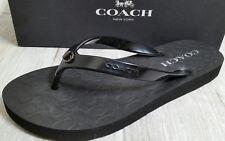 NEW COACH Size 7 Women Black SIGNATURE C ABBIGAIL Rubber Sandal Flip Flop NIB