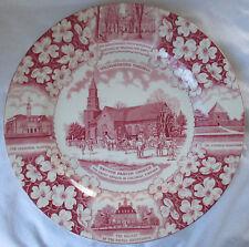 VINTAGE ADAMS BRUTON PARISH CHURCH COLONIAL WILLIAMSBURG VA RED & WHITE PLATE