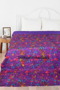Indian Cotton Bird Print Kantha Quilt Bedspread Hand Stitched Twin Size Blenkat