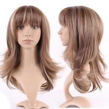 Long Hair Wig Straight Curly Full Wig With Bangs Women Cosplay Highlight Ombre &