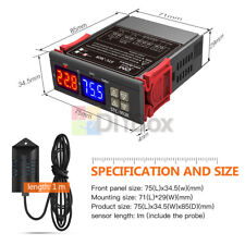 12v 24v 110 220v Stc 3028 Dual Led Temperature Humidity Control Thermostat Probe
