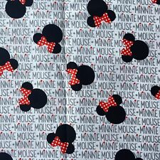 FQ DISNEY MINNIE MOUSE EARS BOW WRITING  FABRIC CHARACTER GIRLS