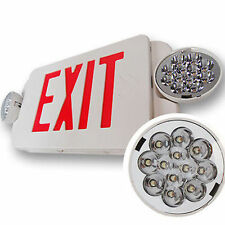 6units LED Exit Sign & Emergency Light Lighitng – RED Compact Combo UL924 EL2B