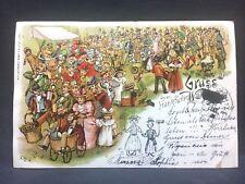 c1895 postcard GRUSS vom FRANKFURTer  Germany.. Quite a party!!!!!