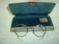 One Pair Antique Wire Frame Glasses Case & Round Lenses Gold Filled 1/10 12K GF