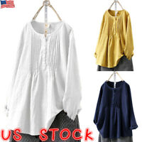 Plus Size Women Cotton Linen Baggy Tops Ladies Long Sleeve Casual T Shirt Blouse