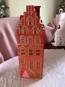 M&S Marks & Spencer Musical Christmas Tin Red Gold Town House Shaped Embossed