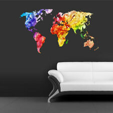 Full Color Wall Decal Sticker World Map Watercolor Water Paintings (Col346)