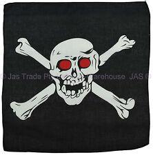 Bandana Cotton Head Scarf Wrap Black with White Big Skull Cross Bones RED EYES