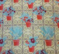 Genuine Vintage c1940s French Flowesr In Pots Cotton Conversational Fabric
