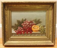 19th Century Framed Classical Still Life Grapes Oranges Fruit Oil Painting