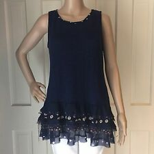 Anthropologie One September Womens M ChaCha Tank Top Blue Knit Tunic Shirt