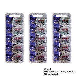 Maxell 377 SR626SW Silver Oxide Watch Batteries (15 Batteries)