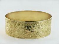Gold Hawaiian bangles One inch Solid wideband Bangle Real 1/20 -14K Gold Filled