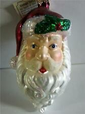 VINTAGE SANTA CLAUS HEAD HAT HOLLY OLD WORLD CHRISTMAS GLASS ORNAMENT NWT 40111
