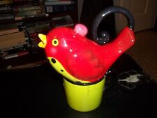 APPLE TREE TEA POT FOR ONE RED BIRD W/ CUP BY BABS CERAMIC WHIMSICAL TEAPOT
