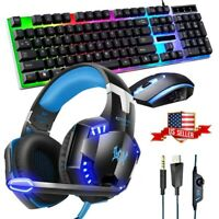 LED Lighting Computer Gaming Keyboard Mouse + Headphones Headset W/Mic Bundles