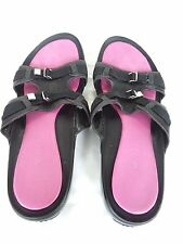 VAN ELI - Women's Black & Pink Slides / Sandals - Size 8B