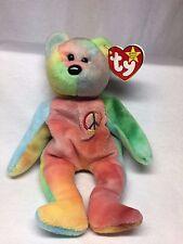 Peace Bear - Very Rare Retired TY Beanie Baby - Lots of Tag Errors - Has Big Eye
