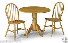 Honey Pine Finish Drop Leaf Dining Table & 2 Chairs Dia91cm x H74cm DUNE