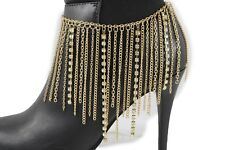 Women Gold Long Metal Chain Boot Bracelet Anklet Shoe Charm Jewelry Silver Beads