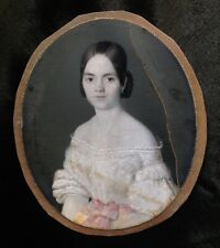 EXQUISITE SIGNED DATED 1840 ETHEREAL GIRL CHILD WHITE LACE PORTRAIT MINIATURE