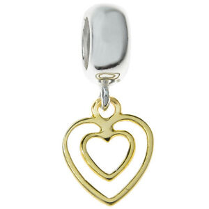 2 Tone Gold Sterling Silver Double Heart Love Bead For European Charm Bracelets