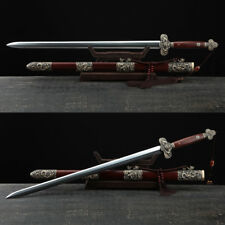 High Quality 120cm Long Chinese Sword Jian Folded Steel Blade Rosewood Scabbard
