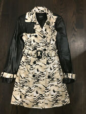 bebe Trench Coat Animal Print Faux Leather sz S Small double breasted jacket
