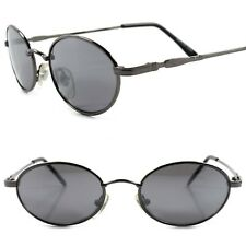 ae7187e4bb0b Old Fashion 90s Mens Womens Indie Vintage Style Gunmetal Round Oval  Sunglasses