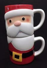 Hallmark STACKING SANTA CLAUS MUG SET of 2 Christmas Winter White Red Black