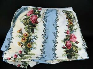 Vintage Dan River Pink Blue Rose Floral King Bedskirt Dust Ruffle Made in USA