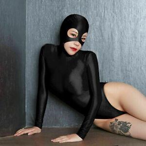 Sexy Lycra Ladies Bodysuit Zentai Leotard Top 2-Way Zipper Party Jumpsuit Romper