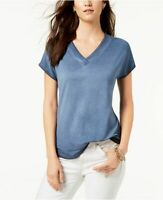 Style & Co T-Shirt Blue Washed V-Neck Top Tee Boho Stretch Womens Size M L XXL