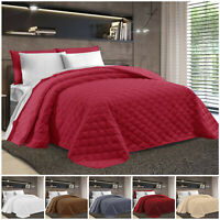 Luxury 3 Piece Embossed Bedspread Quilted Comforter Bedding Set + Pillow Shams