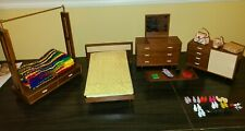 BARBIE 1958 MATTEL MODERN FURNITURE BED DRESSER WARDROBE BUFFET COFFEE TABLE NIB