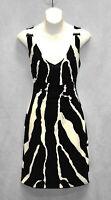 B5 Auth ROBERTO CAVALLI Ivory Black Signature Stretch Nylon V-Neck Dress Sz 42