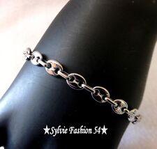 Bracelet bijou homme ado mixte gros grain de café acier couleur argent 0,8 chic