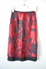 CUE Pencil Skirt Small 6 8 Red Black Silk Lined Tree Print Cocktail Formal