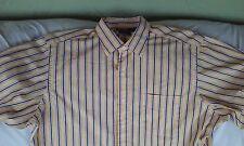 Ralph Lauren Curham Sport Men's Yellow Navy Blue White Striped Dress Shirt Sz XL