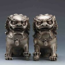 COLLECTIBLE SILVER COPPER HANDWORK CARVED A PAIR OF LIONS STATUE