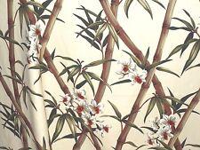 PAIR 82 x52 Tropical Hawaiian 100% Cotton Barkcloth Fabric Drapes ~Bamboo-Cream~