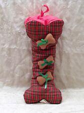 Fluffy Dog Bone Shaped Christmas Stocking Holiday